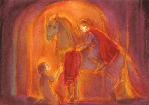 San Martino cede metà del suo mantello ad un povero (illustrazione di Marie - Laure Viriot)