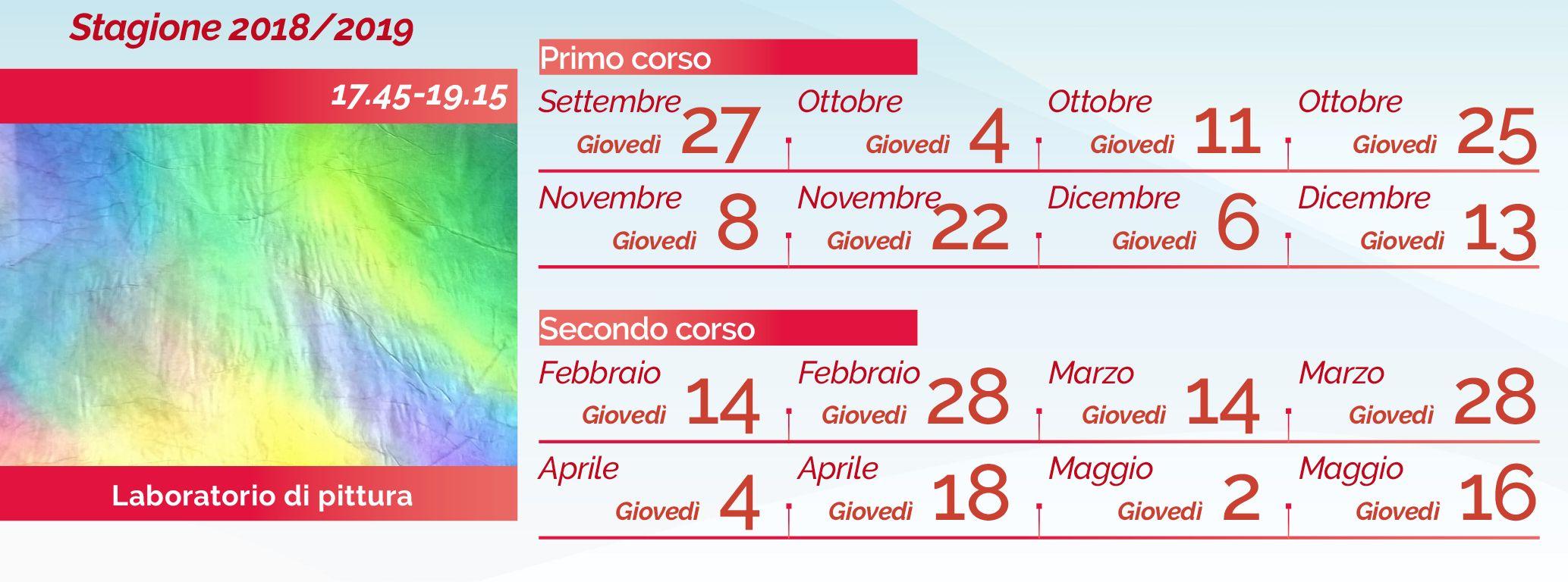 Il calendario 2018-2019 di Laura Lombardi e il laboratorio di pittura