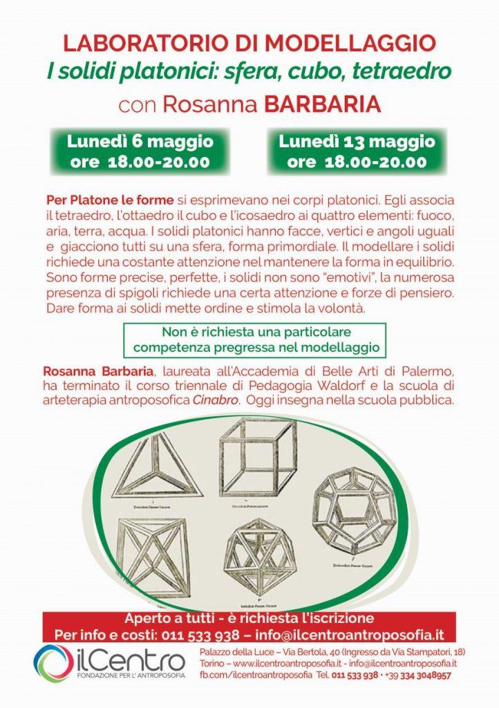 Rosanna Barbaria solidi platonici modellaggio locandina