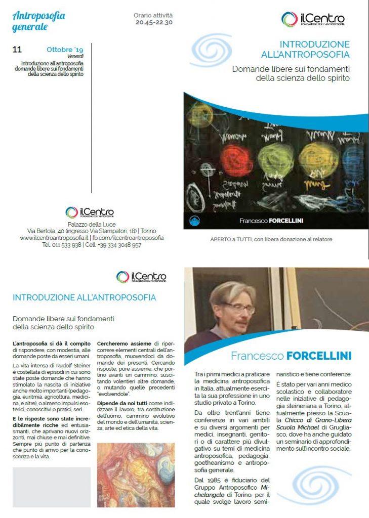 Francesco Forcellini Introduzione antroposofia locandina