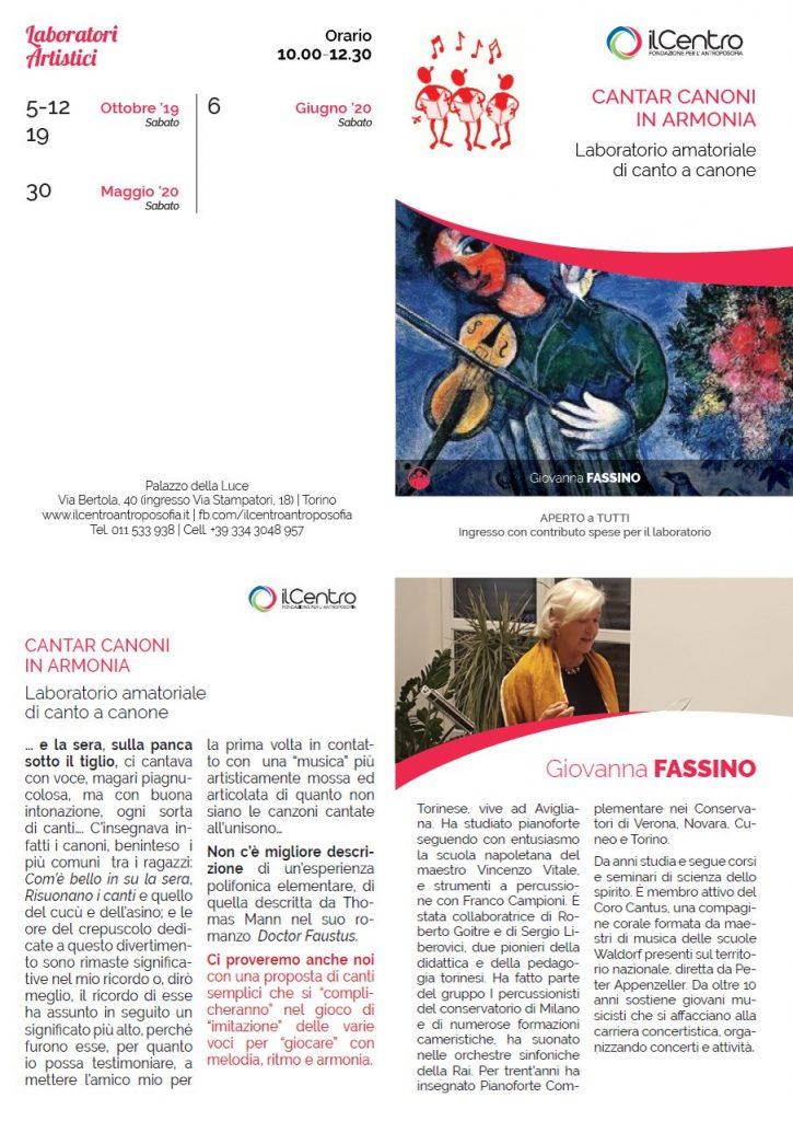 Giovanna Fassino Cantar canoni laboratorio 2019-2020 locandina