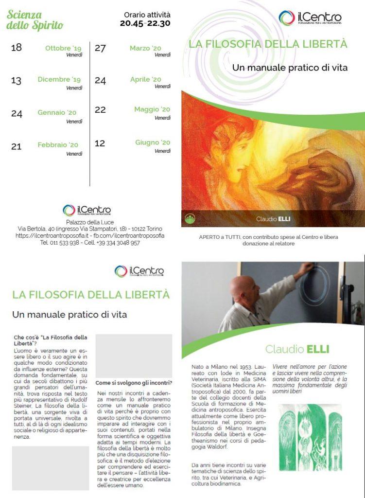 Claudio Elli Filosofia Della Libertà 2019-2020 locandina