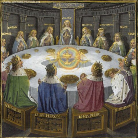 I Cavalieri di Re Artù intorno alla Tavola Rotonda per celebrare la Pentecoste