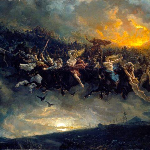 Peter Nicolai Arbo, La caza salvaje de Odin (La caccia selvaggia di Wotan/Odino) 1872, Galleria nazionale di Oslo
