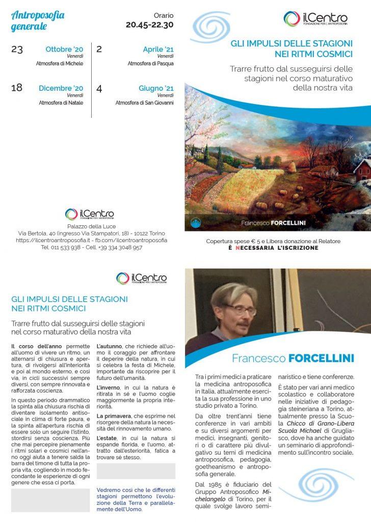 Francesco Forcellini le 4 immaginazioni cosmiche locandina 2020-21