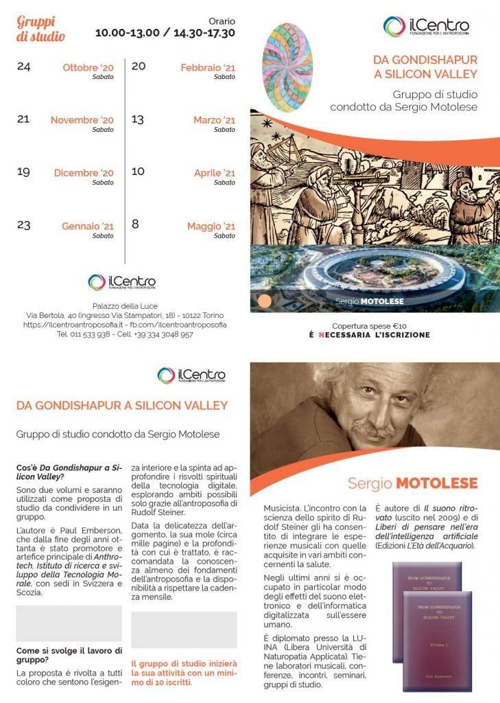 Sergio Motolese gruppo di studio Gondishapur locandina 2020-21