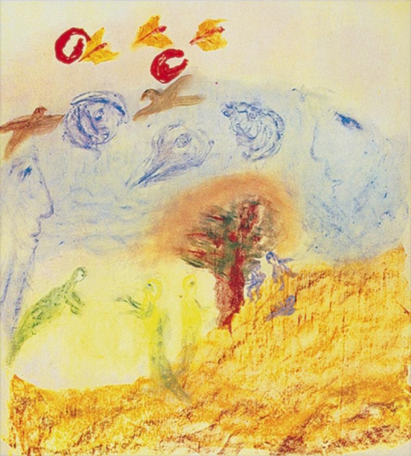 Rudolf Steiner Elementalwesen, pastello su carta da lucido (1923)