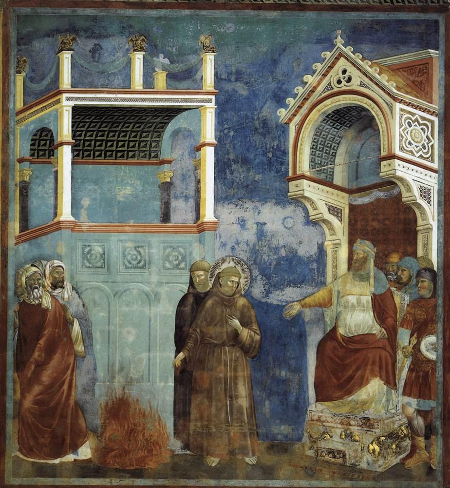 Giotto di Bondone - San Francesco davanti al Sultano (o Prova del fuoco) - 1295-1299 circa