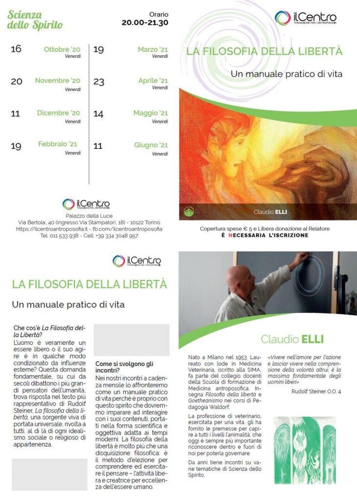 Claudio Elli Filosofia Della Libertà 2020-2021 locandina