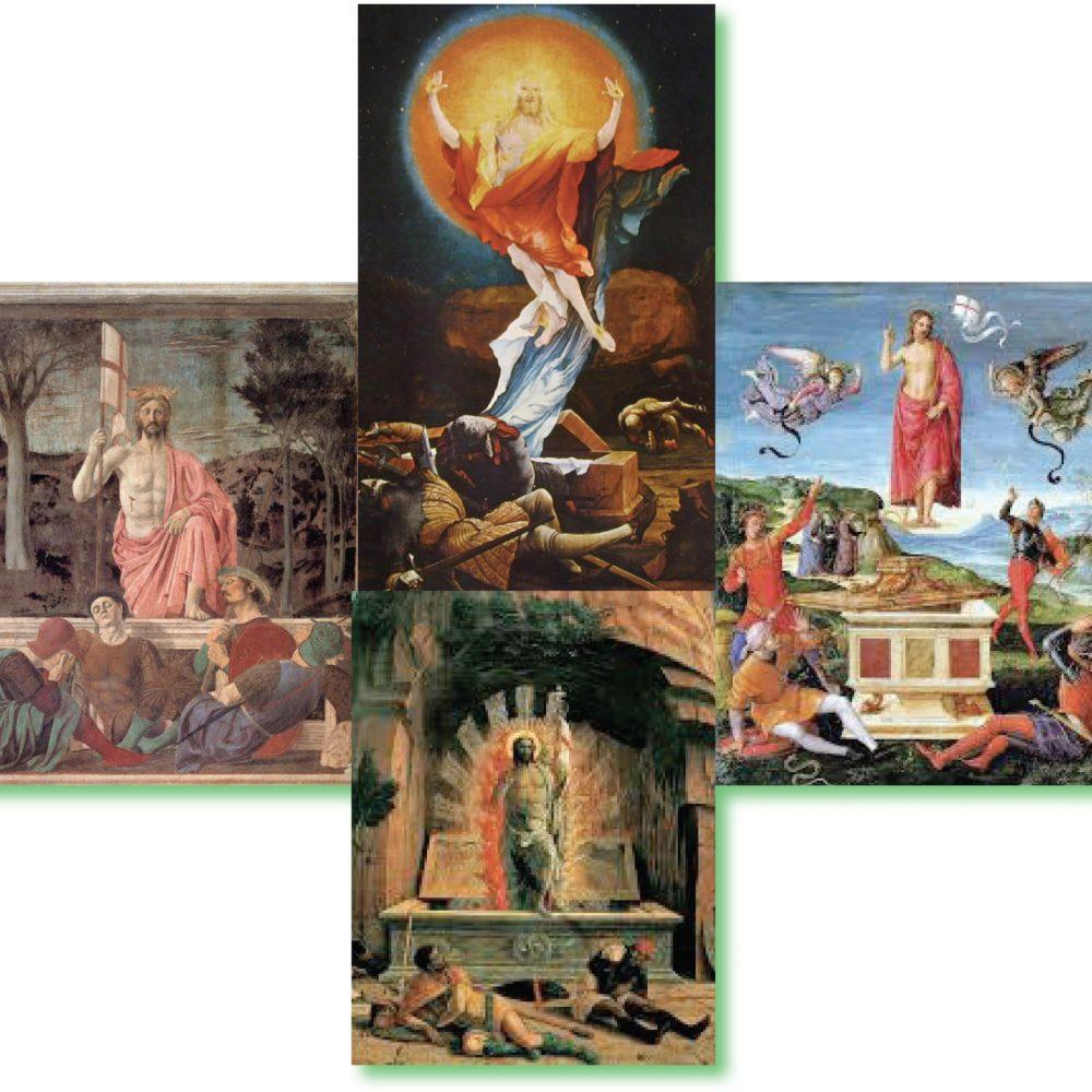 Da sinistra, in senso antiorario, la Resurrezione vista da Piero della Francesca, Andrea Mantegna, Raffaello Sanzio, Matthias Grünewald