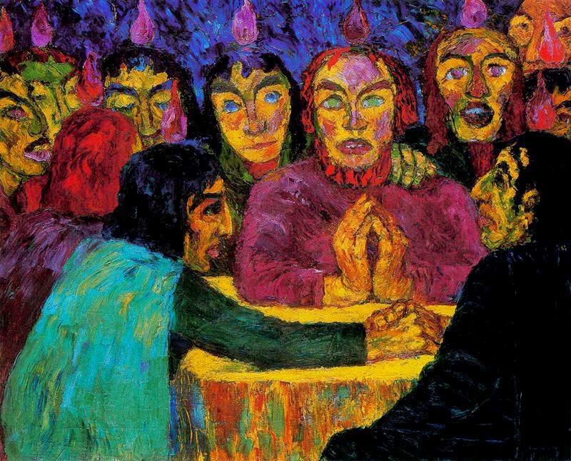 Emil Nolde, Pentecoste, 1909, olio su tela, Nationalgalerie, Berlino