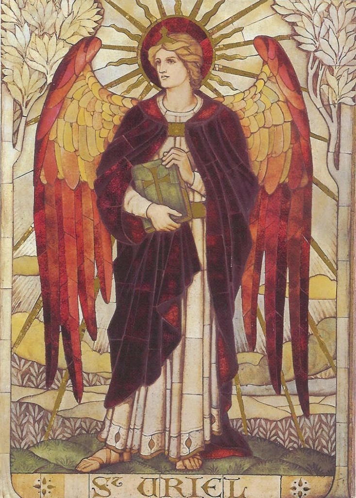 Mosaico dell'Arcangelo Uriel nella Chiesa di St. John Boreham Road, Warminster, Wiltshire, Inghilterra