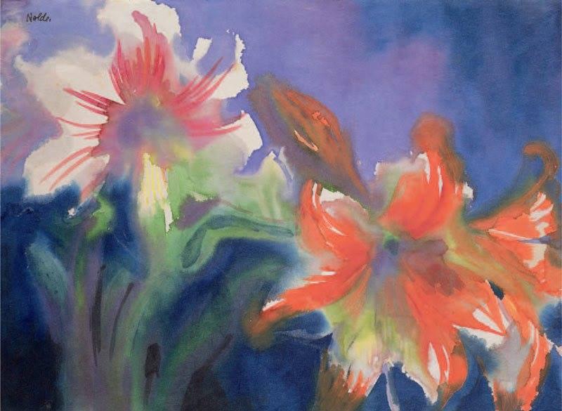 Amaryllis bianchi e rossi - Emil Nolde, non datato