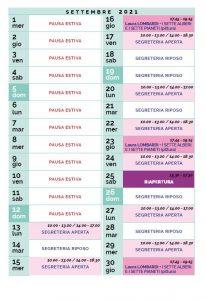 Calendario Il Centro Antroposofia settembre 2021