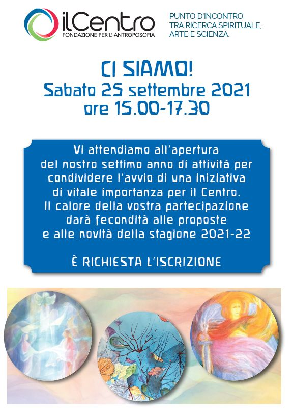 Apertura stagione 2021-22 al Centro Antroposofia di Torino - locandina