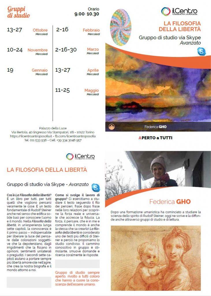 La Filosofia della Libertà - Gruppo di studio avanzato con Federica Gho 2021-2022 e via Skype locandina