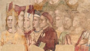 """Dante - Giotto, presumibilmente 1335-1337 - Firenze, Museo del Bargello - Dettaglio del """"Giudizio Universale"""" - Cappella del Palazzo del Podestà"""