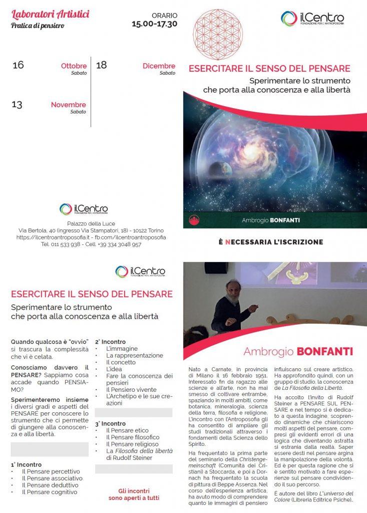 ESERCITARE IL SENSO DEL PENSARE - Laboratorio con Ambrogio Bonfanti - locandina