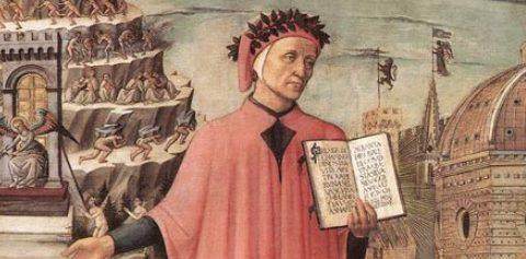"""Firenze, Cattedrale di Santa Maria del Fiore (Duomo): """"La Divina Commedia illumina Firenze"""", conosciuto anche come """"La Divina Commedia di Dante Alighieri"""". Affresco di Domenico di Michelino (1465), su disegno di Alessio Baldovinetti"""