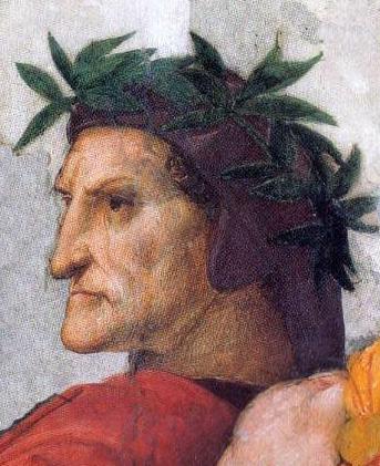"""Dante - Raffaello Sanzio 1509 - Roma, Musei Vaticani - Dettaglio della """"Disputa del Sacramento"""" - Stanza della Segnatura"""