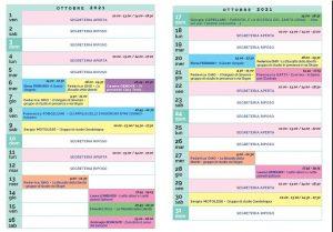 Calendario Il Centro Antroposofia ottobre 2021